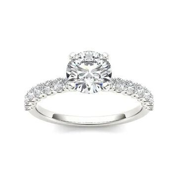 De Couer 14k White Gold 1ct TDW Round-cut White Diamond Engagement Ring