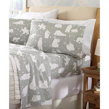 Home Fashion Designs Sheet Sets Grey - Gray Polar Bear Stratton Cotton Flannel Sheet Set