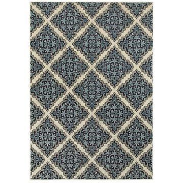 Style Haven Garden Labyrinthe Ivory/Blue Polypropylene Area Rug (9'10 X 12'10) - 9'10