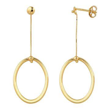 Fremada Italian 14k Yellow Gold High Polish Oval Drop Earrings (yellow gold)