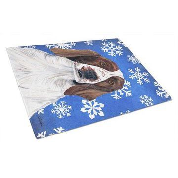 Caroline's Treasures Welsh Springer Spaniel Winter Snowflakes Holiday Glass Cutting Board Large