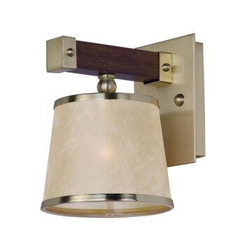 Maxim Lighting Maritime 7.25-in W 1-Light Antique Pecan/Satin Brass Coastal Wall Sconce