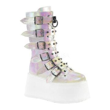 Demonia Women's Damned 225 Platform Buckle Boot Pearl Iridescent Vegan Leather