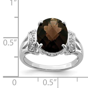 Sterling Silver Rhodium-plated Checker-cut Smoky Quartz and Diamond Ring by Versil (5)