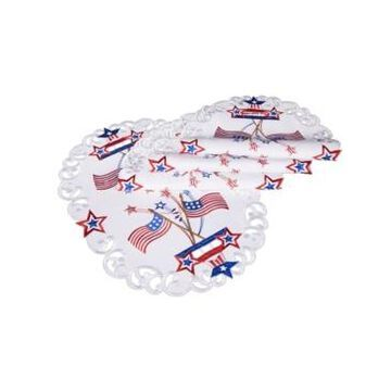"""Xia Home Fashions Star Spangled Embroidered Cutwork Placemats, 13"""" x 19"""", Set of 4"""