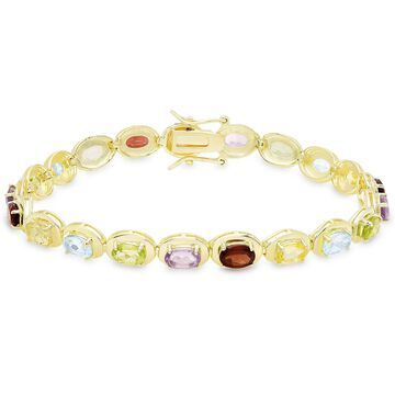 Dolce Giavonna Gold Over Sterling Silver Gemstone Oval Link Bracelet