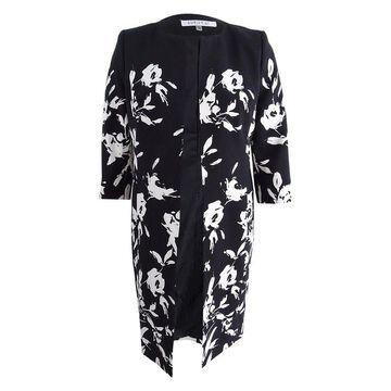 Kasper Women's Floral-Print Topper Jacket - Black/Vanilla Ice