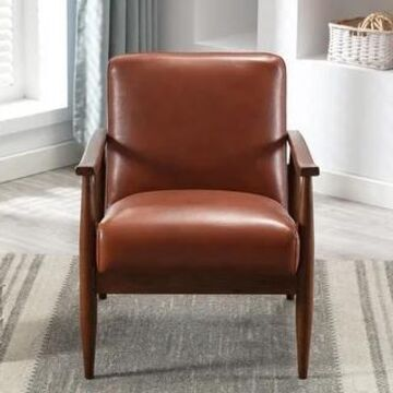 Anna Faux Leather Wood Base Accent Chair by Greyson Living