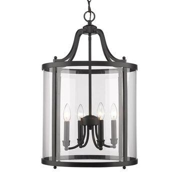 Golden Lighting Payton Black Transitional Clear Glass Lantern Medium (10-22-in) Pendant Light   1157-4P BLK