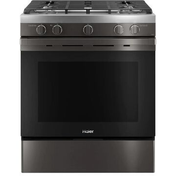 Haier Smart 30-in 4 Burners 5.6-cu ft Convection Oven Slide-In Gas Range (Black Stainless) | QGSS740BNTS