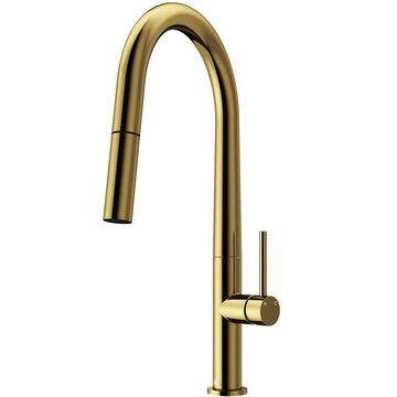 VIGO Greenwich Matte Gold 1-Handle Deck-Mount Pull-Down Handle Kitchen Faucet | VG02029MG