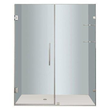 Aston Nautis Frameless Hinged Shower Door With Glass Shelves, Stainless, 67