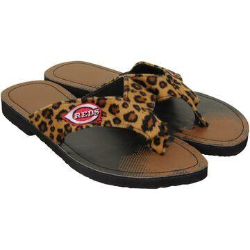 Cincinnati Reds For Bare Feet Women's Cheetah Strap Flip Flops