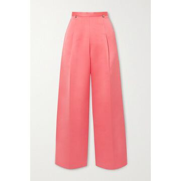 Christopher Kane - Pleated Satin Wide-leg Pants - Coral