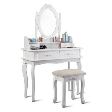 Costway White Vanity Makeup Dressing Table Set Mirror W/Stool &4 Drawer