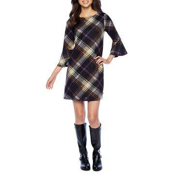 Jessica Howard 3/4 Bell Sleeve Plaid A-Line Dress