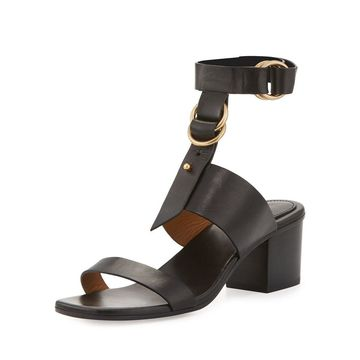 Chloe Womens Kingsley Leather Open Toe Casual Ankle Strap Sandals