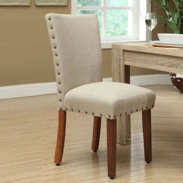 HomePop Tan Nail Head Parsons Chairs (Set of 2) (Tan)