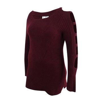 Almost Famous Juniors' Ladder-Sleeve Sweater (M, Burgundy) - Burgundy - M