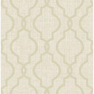 Kenneth James Geometric Jute Taupe Quatrefoil Wallpaper
