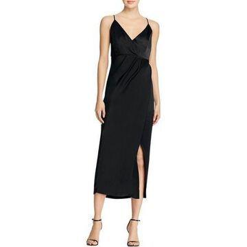 Bardot Womens Bella Split Faux Wrap Evening Dress