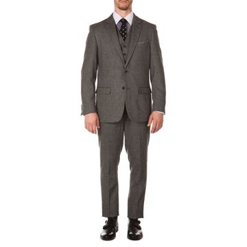Ferrecci Mens York Vintage Style Slim Fit Herringbone 3pc Suit