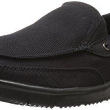 Propet Men's Sawyer Boating Shoe, Black, 9 M US
