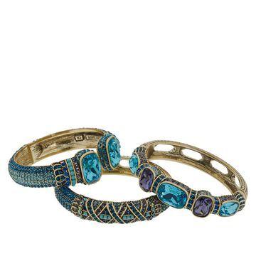 Heidi Daus Triple Play Set of 3 Crystal Bangle Bracelets