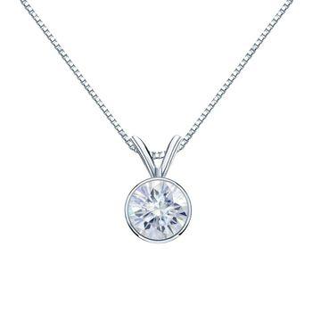 Auriya 1ctw Bezel-set Round Moissanite Necklace 18k Gold - 6.5 mm (Yellow)