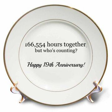 3dRose Happy 19th Anniversary - 166554 hours together - Porcelain Plate, 8-inch