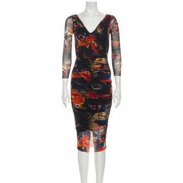 Printed Midi Length Dress w/ Tags Black