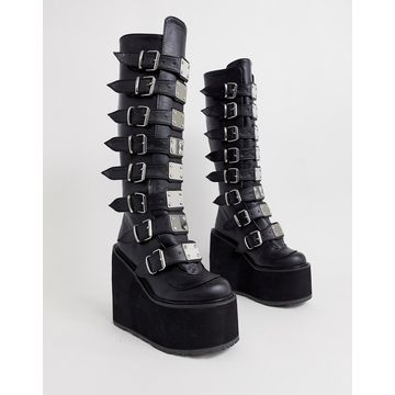 Demonia Swing buckle flatform knee boots in black