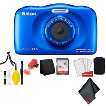 Nikon Coolpix W150 Wi-Fi Rugged Waterproof Digital Camera (Blue) 13.2 MP Bundle with 32GB Sandisk Memory Card + Floating Strap + Carrying Case + More (Intl Model)