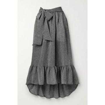 Lisa Marie Fernandez - Nicole Belted Ruffled Linen-blend Gauze Midi Skirt - Black