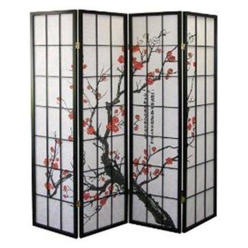 Ore International 4-Panel Room Divider, Plum Blossom