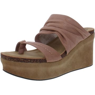 OTBT Womens Tailgate Wedge Sandals Leather Slip On - Pink