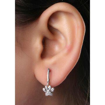 De Couer IGI Certified 10k Gold Round Diamond Paw Print Earrings