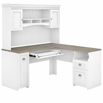 Bush Furniture Fairview 60W L Shaped Desk with Hutch, White/Gray