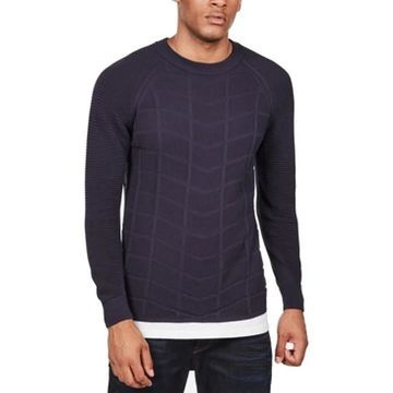 G-Star Mens Sweater Blue Size Large L Slim-Fit Textured Moto Crewneck