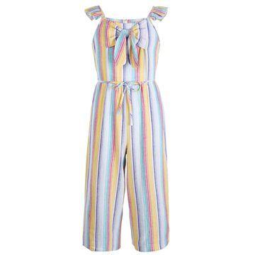 Big Girls Striped Linen Jumpsuit