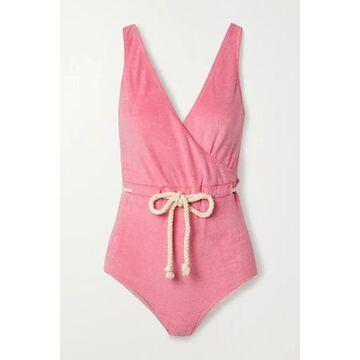 Lisa Marie Fernandez - Yasmin Belted Wrap-effect Cotton-blend Terry Swimsuit - Baby pink