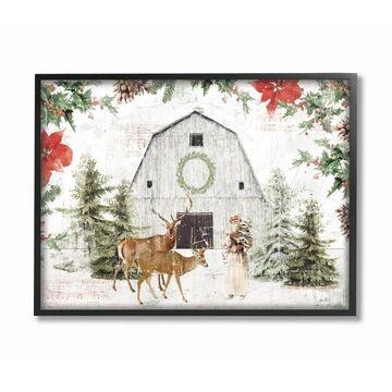 Stupell Industries Rustic Holiday Barn Animals Seasonal Christmas Winter Framed Wall Art (24 x 30 - Black)