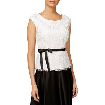 Alex Evenings Womens Embroidered Sleeveless Blouse