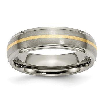 Chisel Titanium Ridged Edge 14 Karat Yellow Gold Inlay 6mm Brushed/Polished Band