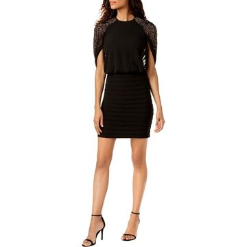 Betsy & Adam Womens Petites Cape Sleeves Above Knee Cocktail Dress
