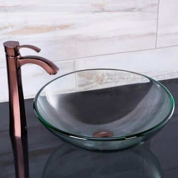 VIGO Crystalline Glass Vessel Sink and Otis Vessel Faucet Set in a Oil Rubbed Bronze Finish (VIGO Glass Vessel Sink and Otis Vessel Faucet Set)