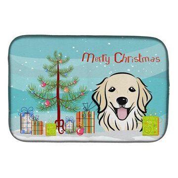 Caroline's Treasures Christmas Tree and Golden Retriever Dish Drying Mat