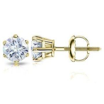 Auriya 14k Gold 1 1/2ctw Round Moissanite Stud Earrings - 5.9 mm, Screw-Backs (Yellow)