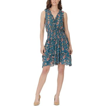 William Rast Womens Clarissa Floral Print Lace-Up Casual Dress