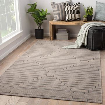 Xavier Hand-Knotted Geometric Light Gray/ Silver Area Rug (9' x 13') - 9' x 13'